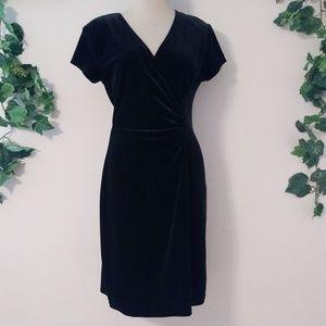 VTG Robbie Bee Surplice Neck Black Velvet Dress